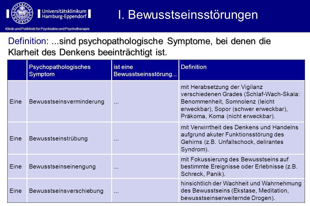 Klinik und Poliklinik für Psychiatrie und Psychotherapie I. Bewusstseinsstörungen Psychopathologisches Symptom ist eine Bewusstseinsstörung... Definit