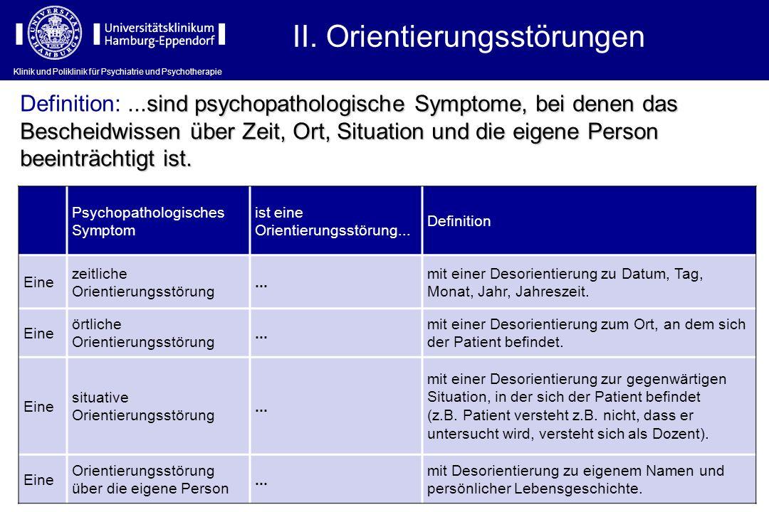 Klinik und Poliklinik für Psychiatrie und Psychotherapie II. Orientierungsstörungen Psychopathologisches Symptom ist eine Orientierungsstörung... Defi