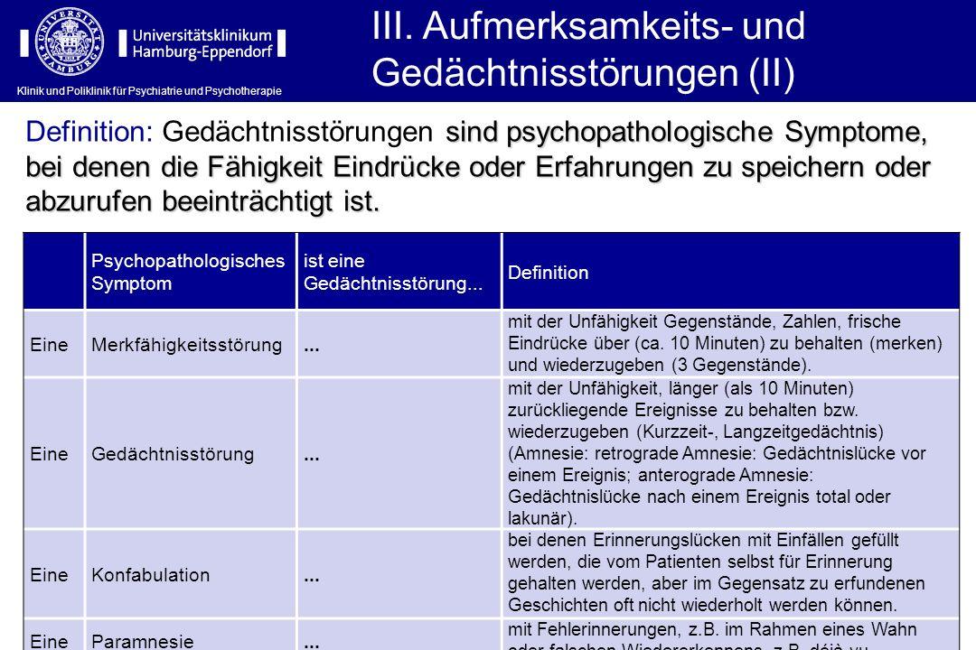 Klinik und Poliklinik für Psychiatrie und Psychotherapie III. Aufmerksamkeits- und Gedächtnisstörungen (II) Psychopathologisches Symptom ist eine Gedä