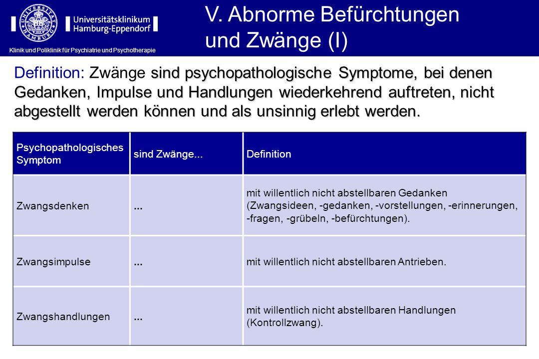Klinik und Poliklinik für Psychiatrie und Psychotherapie Psychopathologisches Symptom sind Zwänge...Definition Zwangsdenken... mit willentlich nicht a