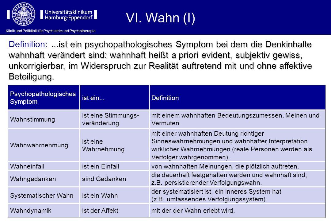 Klinik und Poliklinik für Psychiatrie und Psychotherapie VI. Wahn (I) Psychopathologisches Symptom ist ein...Definition Wahnstimmung ist eine Stimmung
