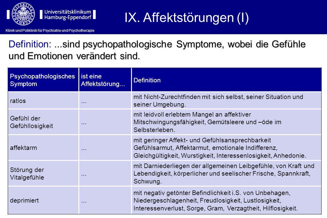 Klinik und Poliklinik für Psychiatrie und Psychotherapie IX. Affektstörungen (I) Psychopathologisches Symptom ist eine Affektstörung... Definition rat