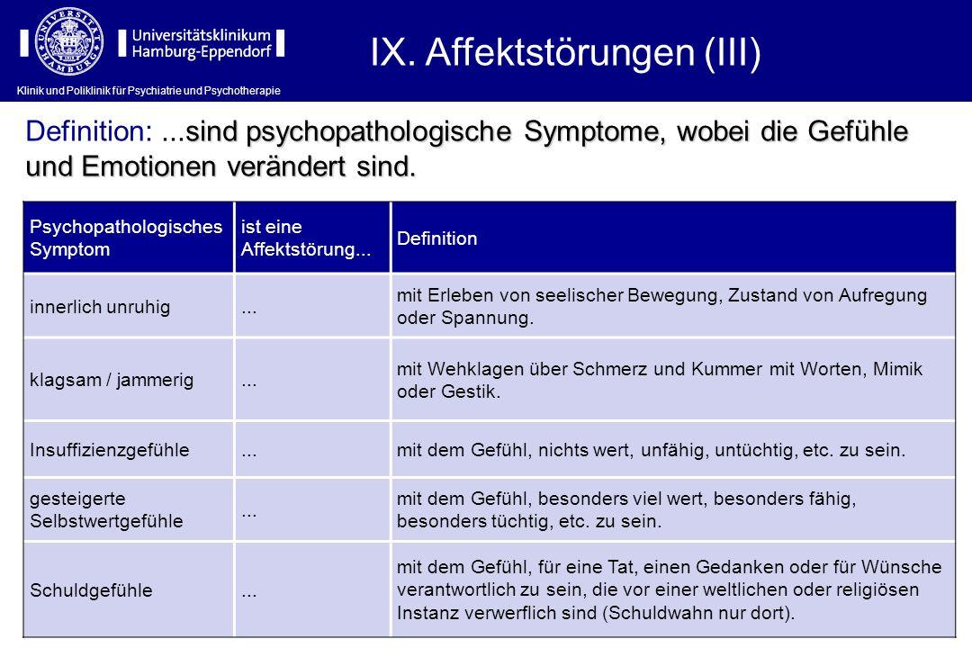 Klinik und Poliklinik für Psychiatrie und Psychotherapie IX. Affektstörungen (III) Psychopathologisches Symptom ist eine Affektstörung... Definition i
