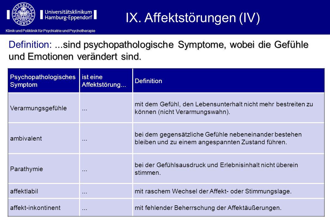 Klinik und Poliklinik für Psychiatrie und Psychotherapie IX. Affektstörungen (IV) Psychopathologisches Symptom ist eine Affektstörung... Definition Ve