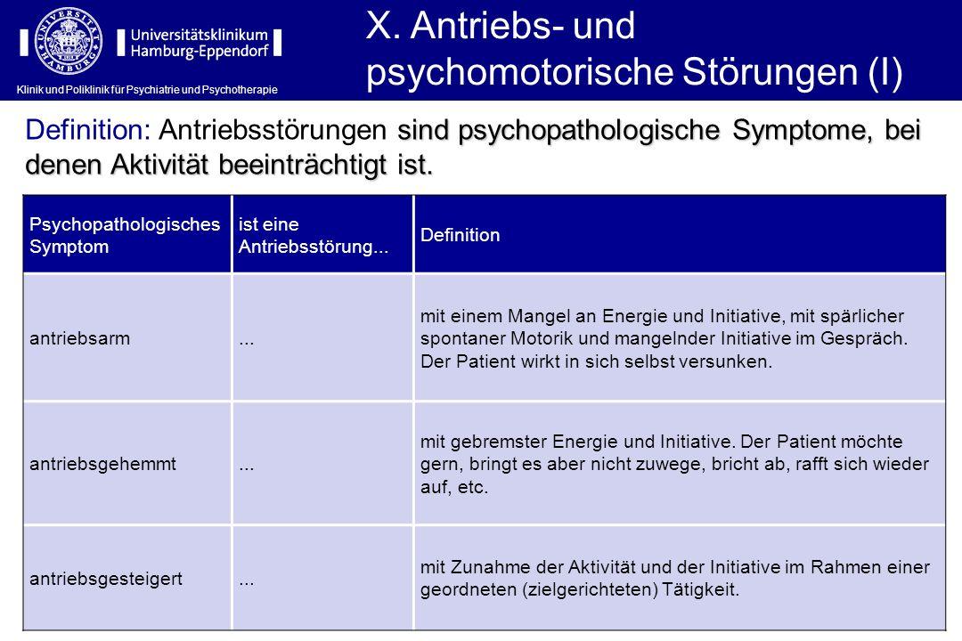 Klinik und Poliklinik für Psychiatrie und Psychotherapie X. Antriebs- und psychomotorische Störungen (I) Psychopathologisches Symptom ist eine Antrieb