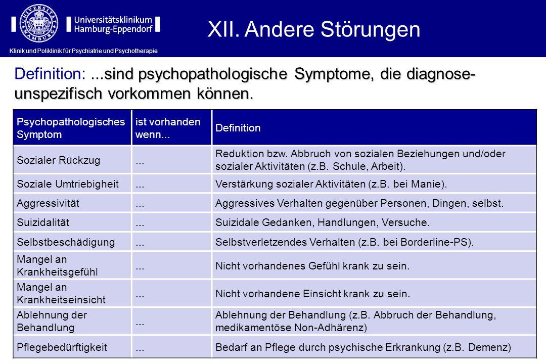 Klinik und Poliklinik für Psychiatrie und Psychotherapie XII. Andere Störungen Psychopathologisches Symptom ist vorhanden wenn... Definition Sozialer