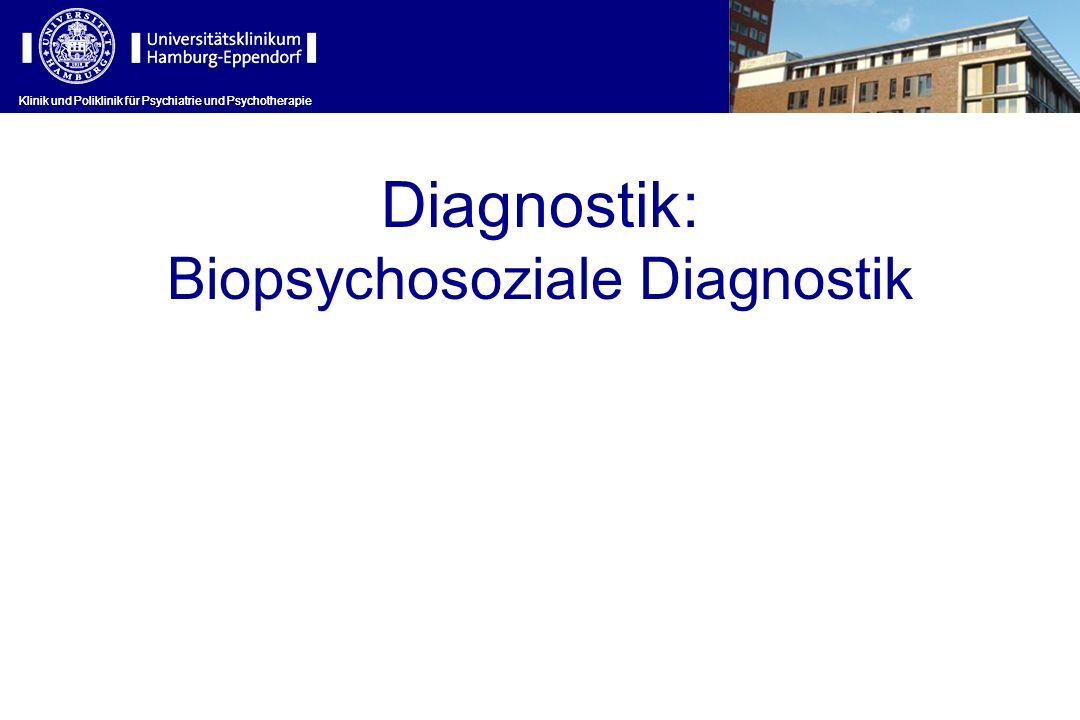 Klinik und Poliklinik für Psychiatrie und Psychotherapie Diagnostik: Biopsychosoziale Diagnostik Klinik und Poliklinik für Psychiatrie und Psychothera