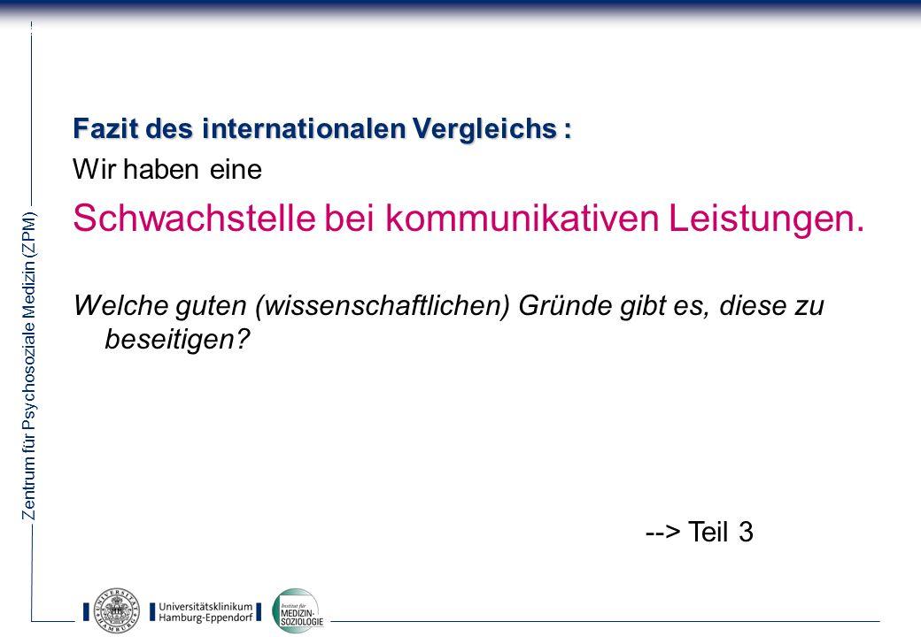 Zentrum für Psychosoziale Medizin (ZPM) 20 Fazit des internationalen Vergleichs : Wir haben eine Schwachstelle bei kommunikativen Leistungen.