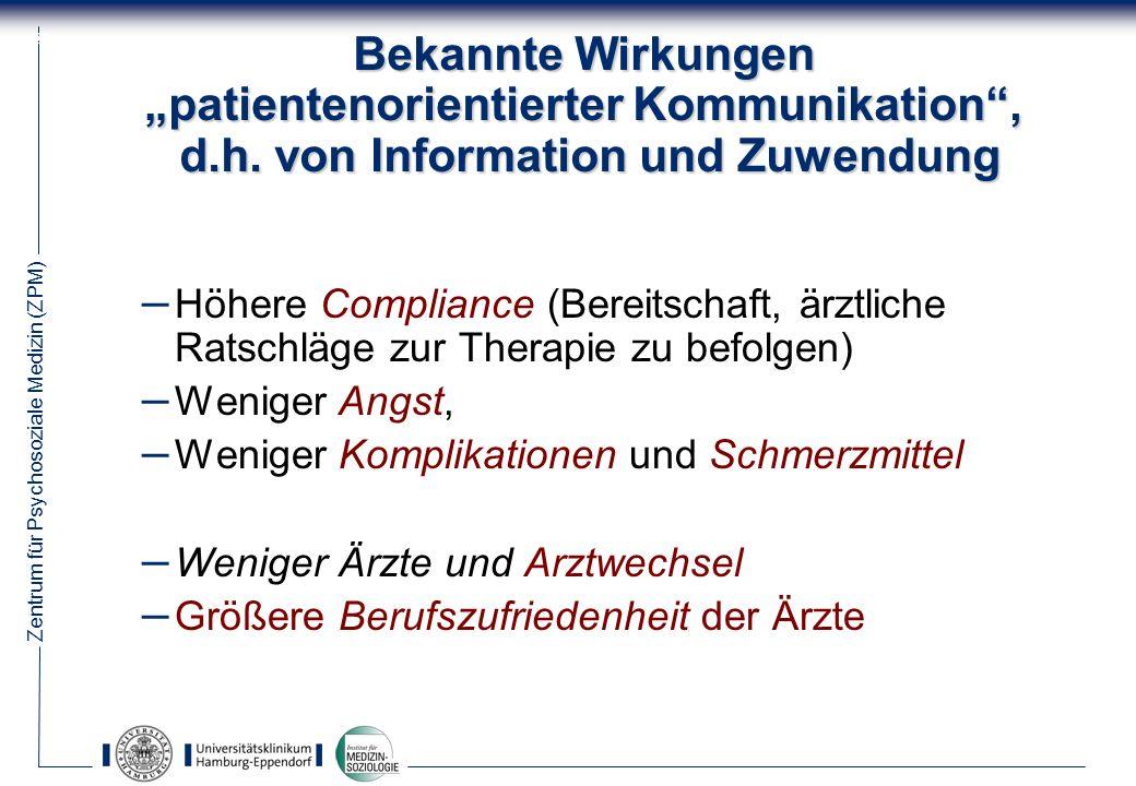 Zentrum für Psychosoziale Medizin (ZPM) 22 Bekannte Wirkungen patientenorientierter Kommunikation, d.h.
