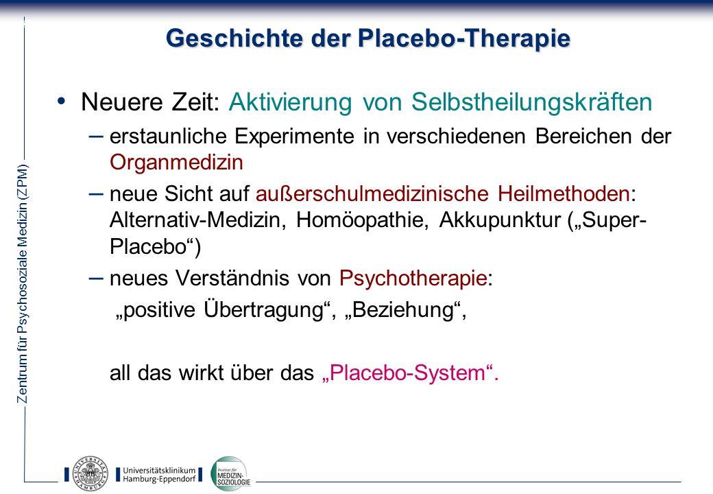Zentrum für Psychosoziale Medizin (ZPM) 27 Geschichte der Placebo-Therapie Neuere Zeit: Aktivierung von Selbstheilungskräften – erstaunliche Experimente in verschiedenen Bereichen der Organmedizin – neue Sicht auf außerschulmedizinische Heilmethoden: Alternativ-Medizin, Homöopathie, Akkupunktur (Super- Placebo) – neues Verständnis von Psychotherapie: positive Übertragung, Beziehung, all das wirkt über das Placebo-System.