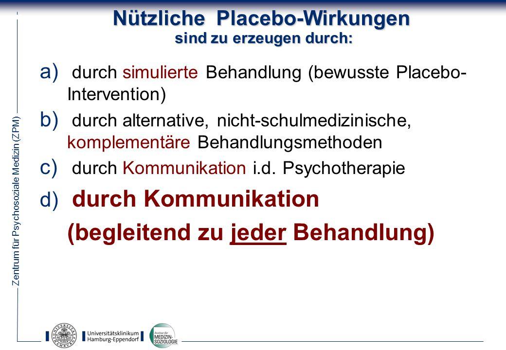 Zentrum für Psychosoziale Medizin (ZPM) 41 Nützliche Placebo-Wirkungen sind zu erzeugen durch: a) durch simulierte Behandlung (bewusste Placebo- Intervention) b) durch alternative, nicht-schulmedizinische, komplementäre Behandlungsmethoden c) durch Kommunikation i.d.