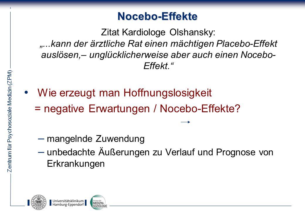 Zentrum für Psychosoziale Medizin (ZPM) 42 Nocebo-Effekte Wie erzeugt man Hoffnungslosigkeit = negative Erwartungen / Nocebo-Effekte.