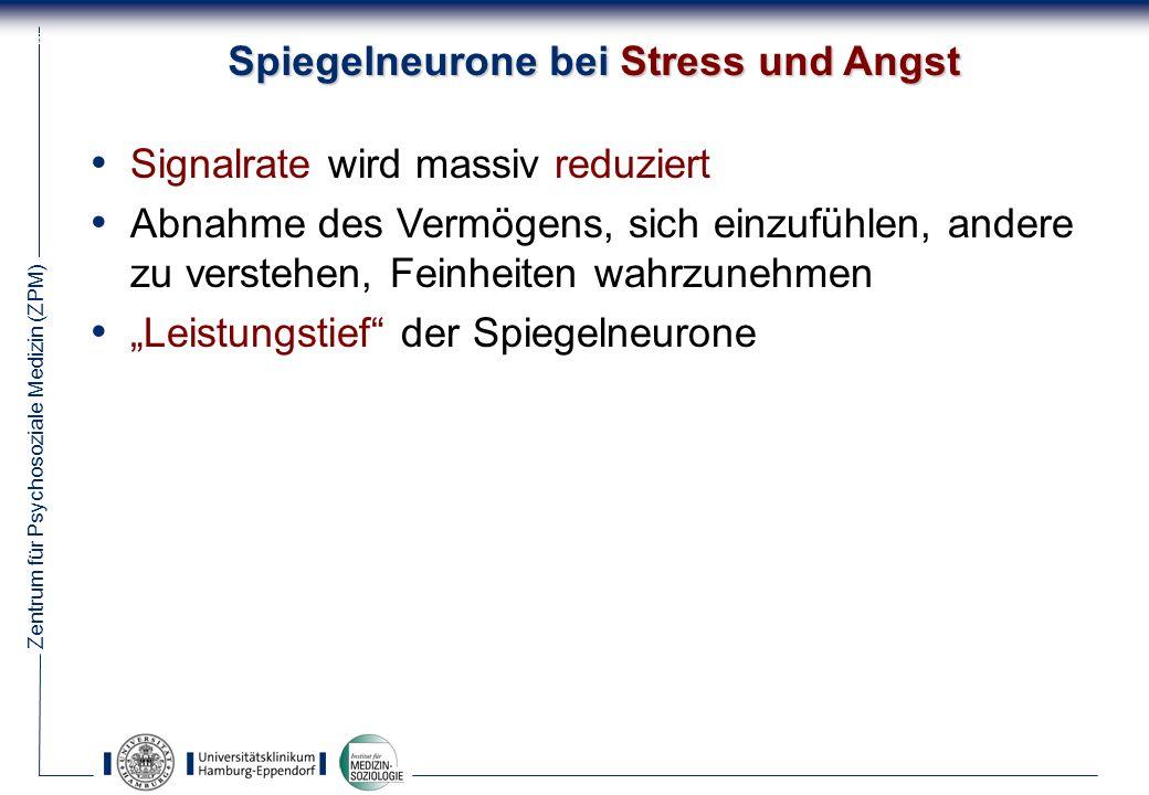 Zentrum für Psychosoziale Medizin (ZPM) 52 Spiegelneurone bei Stress und Angst Signalrate wird massiv reduziert Abnahme des Vermögens, sich einzufühlen, andere zu verstehen, Feinheiten wahrzunehmen Leistungstief der Spiegelneurone