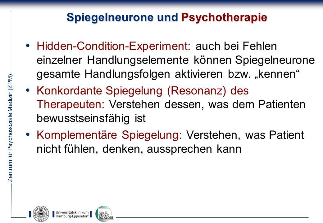 Zentrum für Psychosoziale Medizin (ZPM) 55 Spiegelneurone und Psychotherapie Hidden-Condition-Experiment: auch bei Fehlen einzelner Handlungselemente können Spiegelneurone gesamte Handlungsfolgen aktivieren bzw.