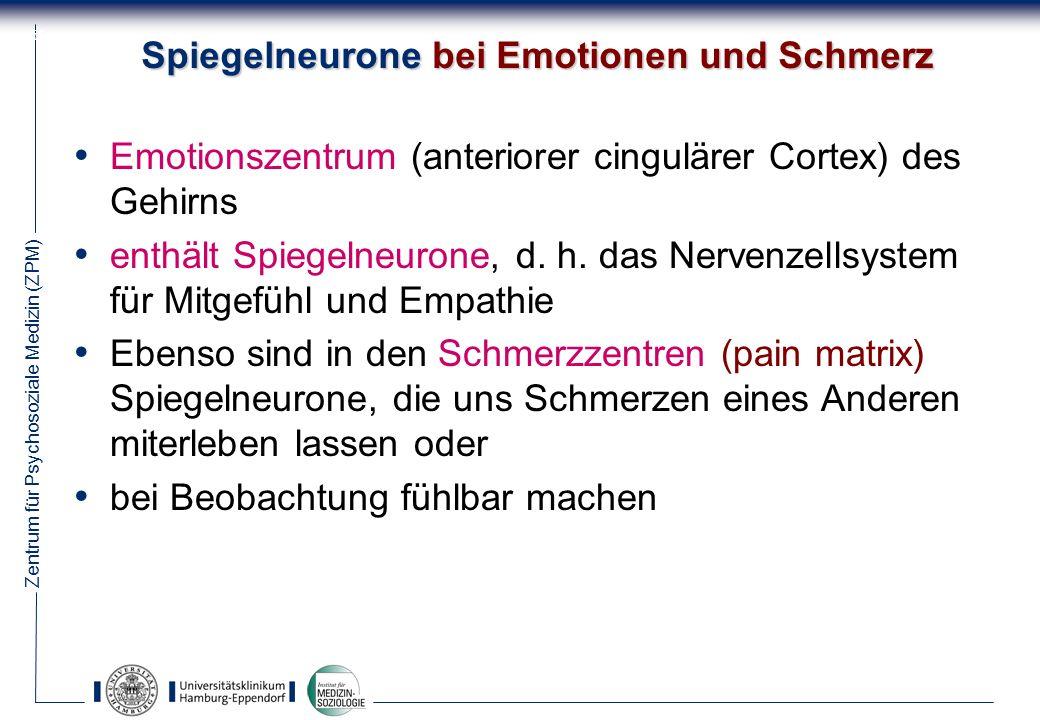 Zentrum für Psychosoziale Medizin (ZPM) 56 Spiegelneurone bei Emotionen und Schmerz Emotionszentrum (anteriorer cingulärer Cortex) des Gehirns enthält Spiegelneurone, d.