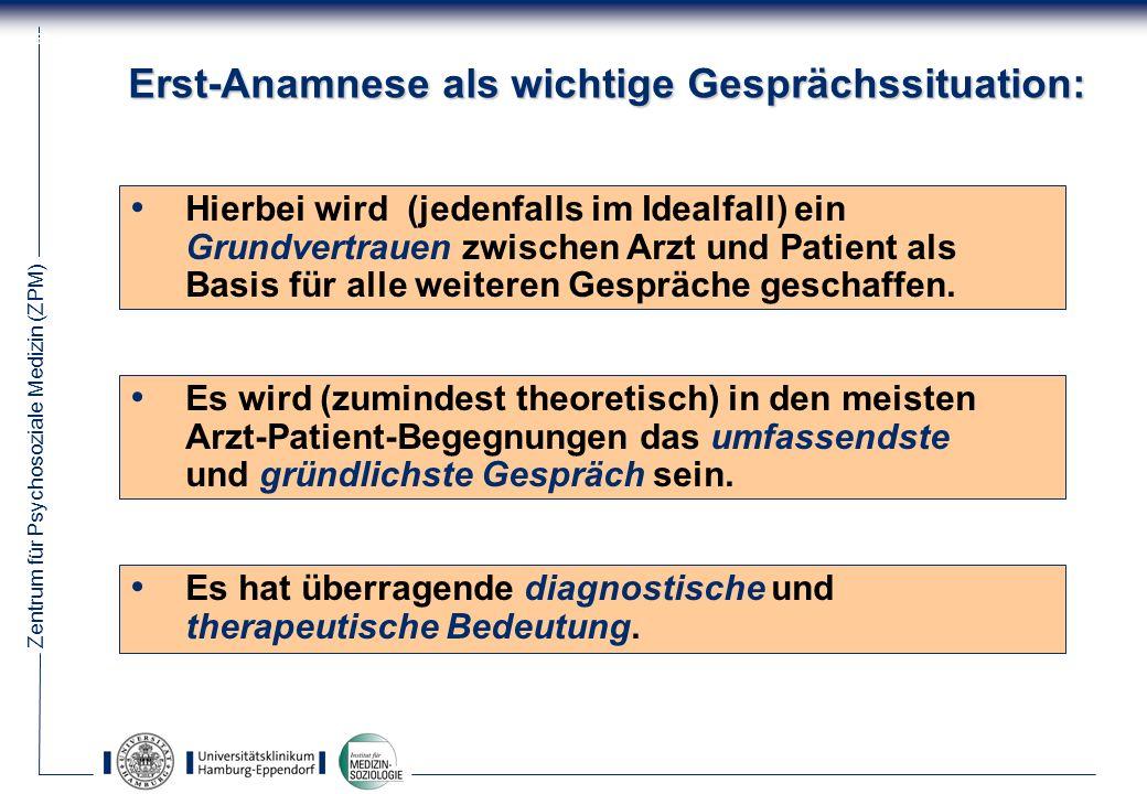 Zentrum für Psychosoziale Medizin (ZPM) 64 Erst-Anamnese als wichtige Gesprächssituation: Hierbei wird (jedenfalls im Idealfall) ein Grundvertrauen zwischen Arzt und Patient als Basis für alle weiteren Gespräche geschaffen.