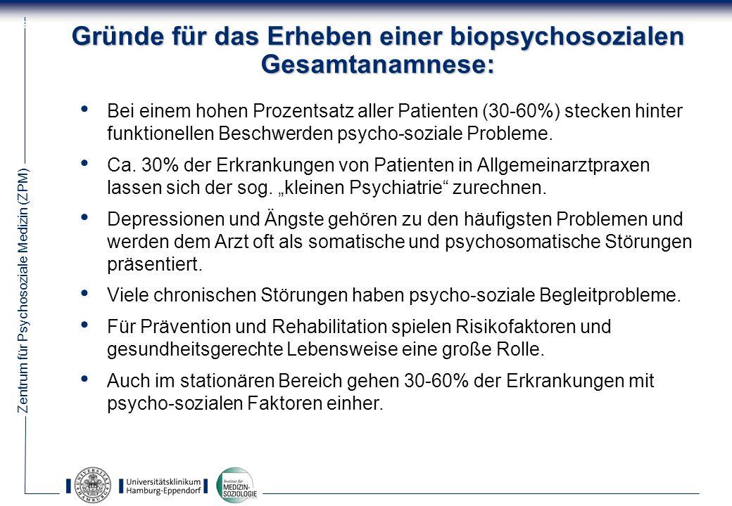 Zentrum für Psychosoziale Medizin (ZPM) 69 Gründe für das Erheben einer biopsychosozialen Gesamtanamnese: Bei einem hohen Prozentsatz aller Patienten (30-60%) stecken hinter funktionellen Beschwerden psycho-soziale Probleme.