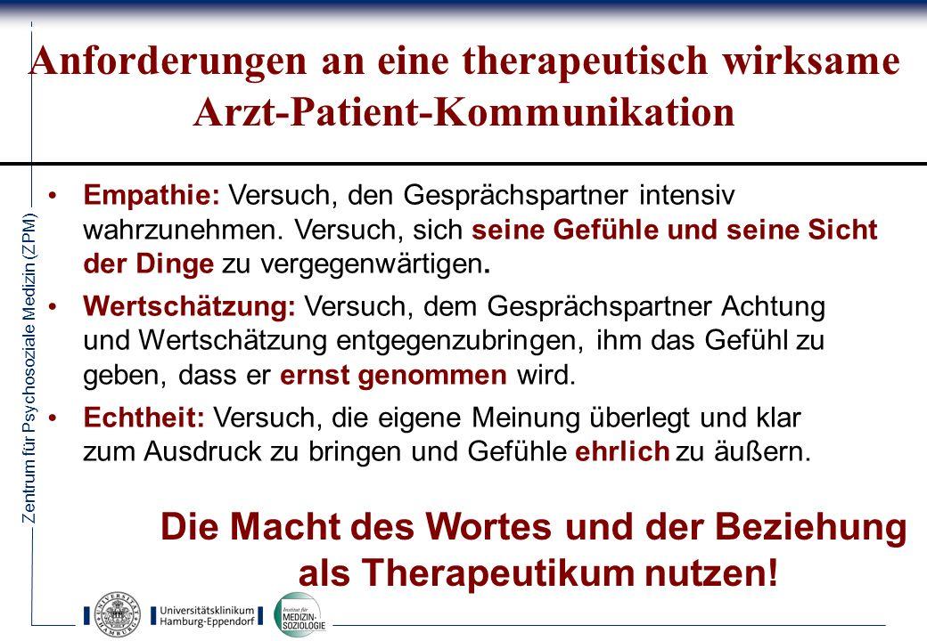 Zentrum für Psychosoziale Medizin (ZPM) 73 Anforderungen an eine therapeutisch wirksame Arzt-Patient-Kommunikation Empathie: Versuch, den Gesprächspartner intensiv wahrzunehmen.
