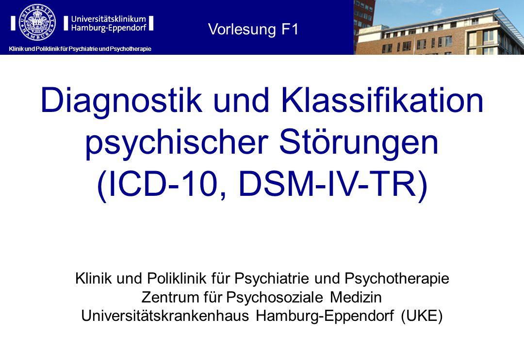 Klinik und Poliklinik für Psychiatrie und Psychotherapie ICD-10: psychische Erkrankungen, klinisch-diagnostische Leitlinien Klinik und Poliklinik für Psychiatrie und Psychotherapie Internationale Klassifikation psychischer Störungen: ICD-10 Kapitel V (F).