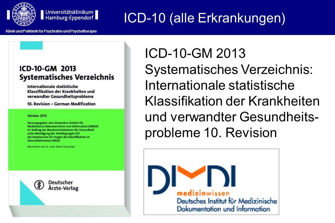 ICD-10 (alle Erkrankungen) Klinik und Poliklinik für Psychiatrie und Psychotherapie ICD-10-GM 2013 Systematisches Verzeichnis: Internationale statisti