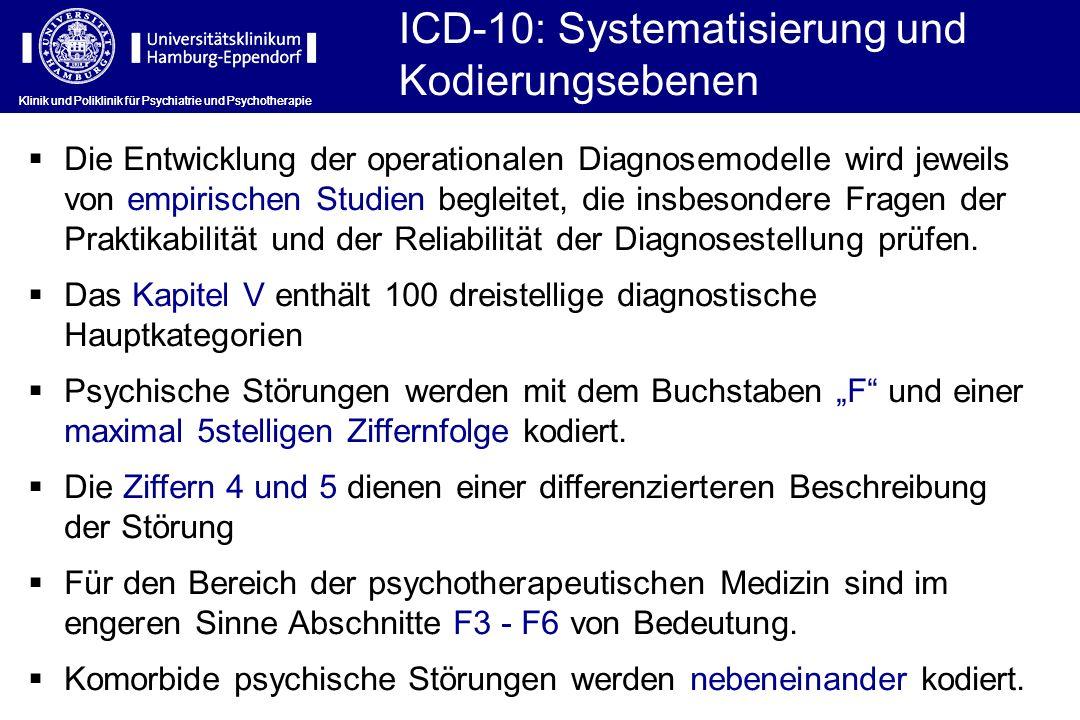 ICD-10: Systematisierung und Kodierungsebenen Klinik und Poliklinik für Psychiatrie und Psychotherapie Die Entwicklung der operationalen Diagnosemodel