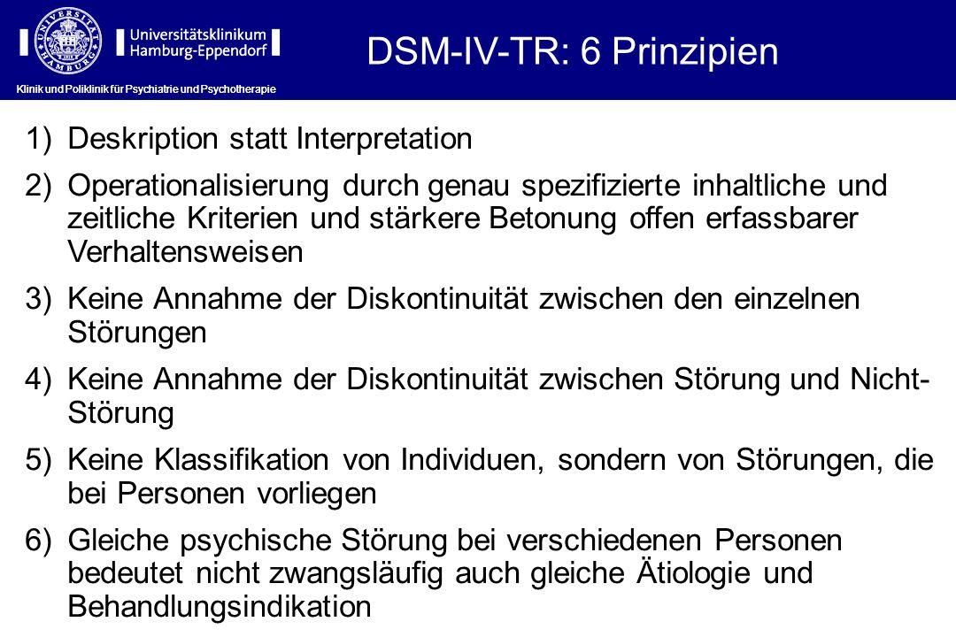 Klinik und Poliklinik für Psychiatrie und Psychotherapie DSM-IV-TR: 6 Prinzipien Klinik und Poliklinik für Psychiatrie und Psychotherapie 1)Deskriptio