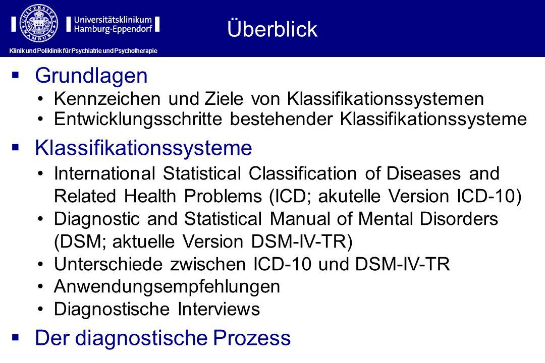 Klinik und Poliklinik für Psychiatrie und Psychotherapie Klassifikationssysteme: Diagnostische Interviews Klinik und Poliklinik für Psychiatrie und Psychotherapie