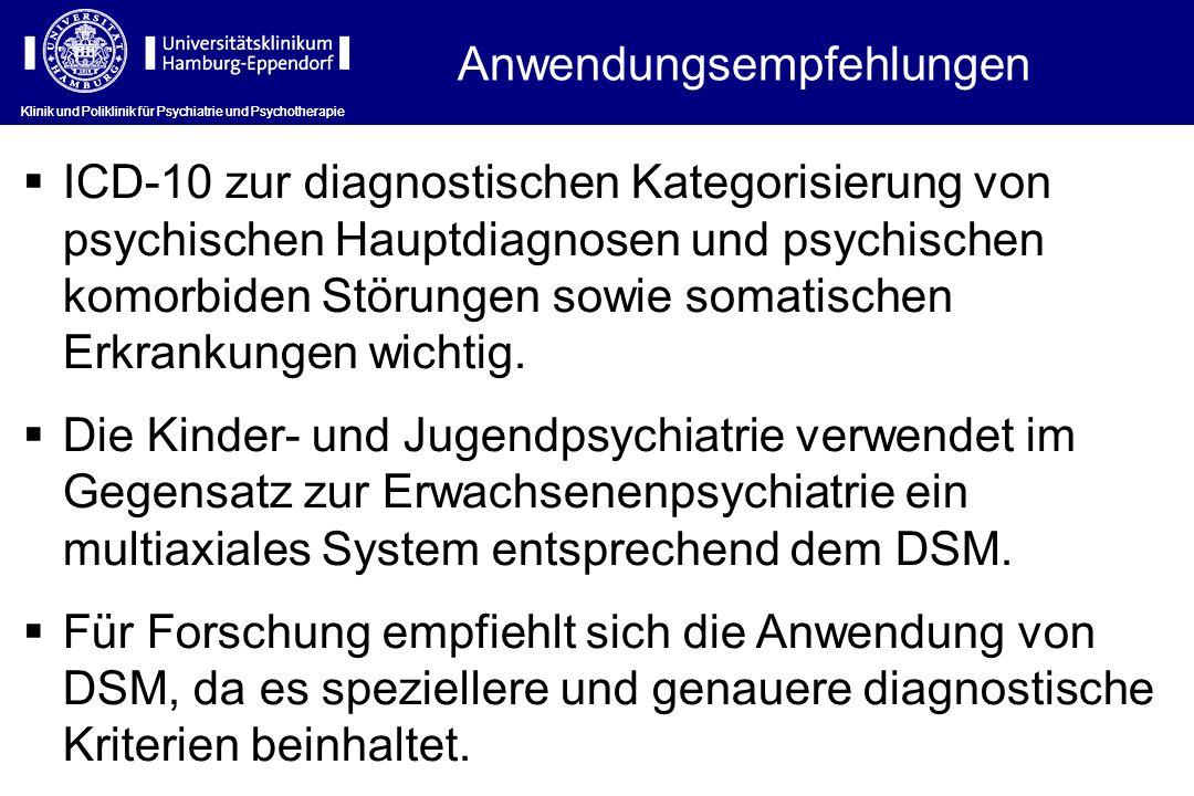 Anwendungsempfehlungen Klinik und Poliklinik für Psychiatrie und Psychotherapie ICD-10 zur diagnostischen Kategorisierung von psychischen Hauptdiagnos
