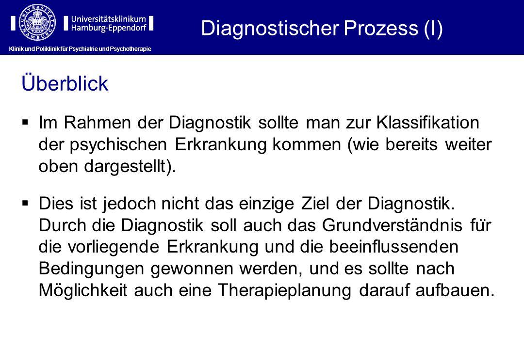 Diagnostischer Prozess (I) Klinik und Poliklinik für Psychiatrie und Psychotherapie Im Rahmen der Diagnostik sollte man zur Klassifikation der psychis