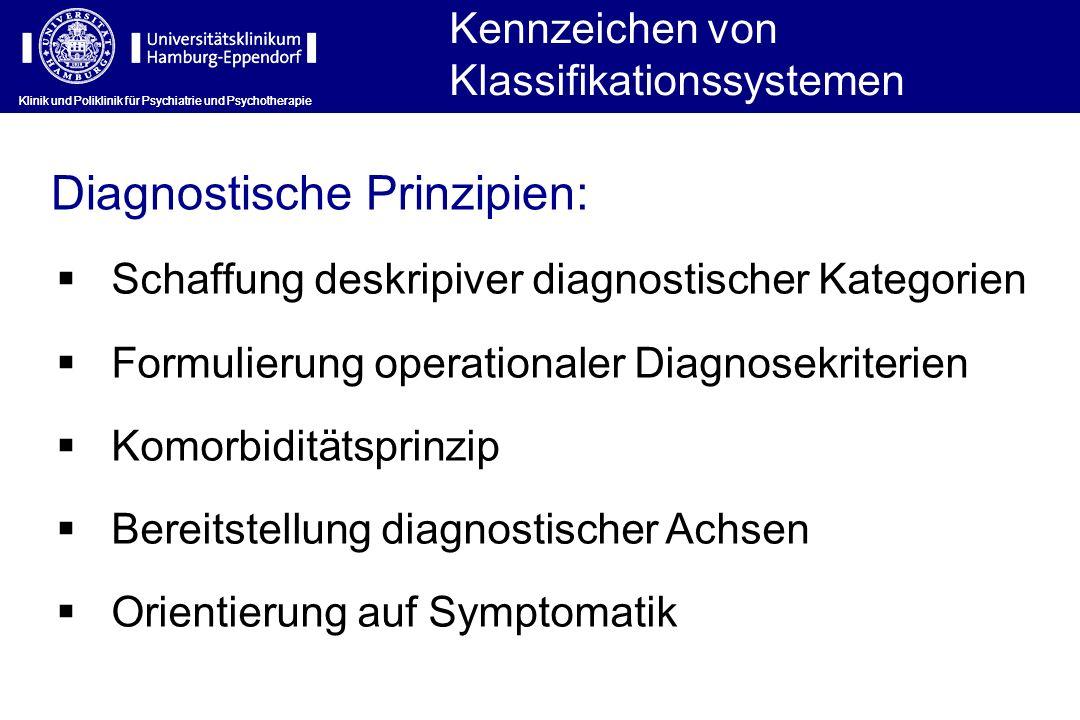 Kennzeichen von Klassifikationssystemen Klinik und Poliklinik für Psychiatrie und Psychotherapie Schaffung deskripiver diagnostischer Kategorien Formu