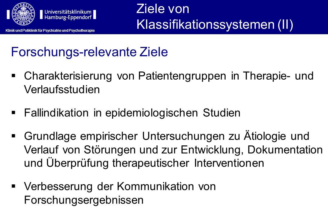 Klinik und Poliklinik für Psychiatrie und Psychotherapie Ziele von Klassifikationssystemen (II) Klinik und Poliklinik für Psychiatrie und Psychotherap