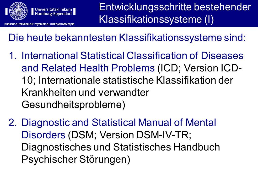 ICD-10: Systematisierung und Kodierungsebenen Klinik und Poliklinik für Psychiatrie und Psychotherapie Die Entwicklung der operationalen Diagnosemodelle wird jeweils von empirischen Studien begleitet, die insbesondere Fragen der Praktikabilität und der Reliabilität der Diagnosestellung prüfen.