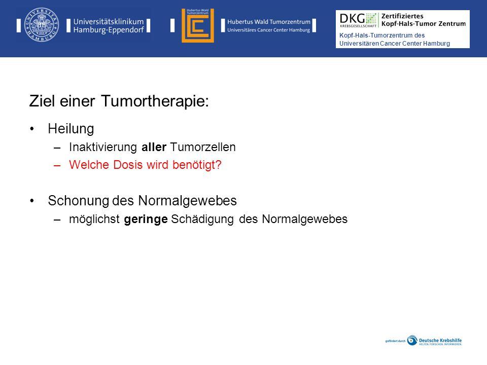 Medikamentöse Tumortherapie der Kopf-, Hals-Tumoren Kopf-Hals-Tumorzentrum des Universitären Cancer Center Hamburg Ziel einer Tumortherapie: Heilung –