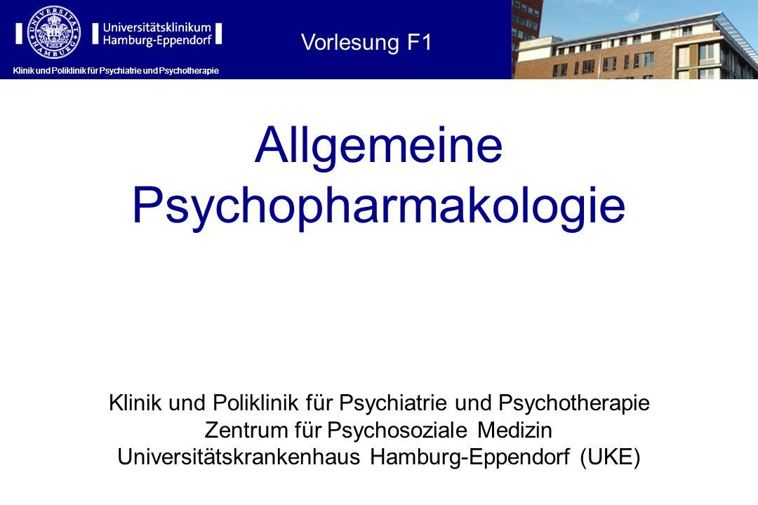 Hauptindikationen der Psychopharmaka Erkrankung Anxiolytika / Hypnotika Antidepressiva Antipsychotika (Neuroleptika) Andere Schlafstörungen +(+) Erregungszustände ++ Angst/Panikstörungen ++ Zwangsstörungen + Depressionen + Bipolare Störungen (+) + Mood Stabilizer Psychotische Zustände/Schizophreni en (+)+ Demenzen (+) Antidementiva Abhängigkeit/Entzug +(+) Clomethiazol Sexuelle Fkt.störungen (+)Sildefanil Klinik und Poliklinik für Psychiatrie und Psychotherapie