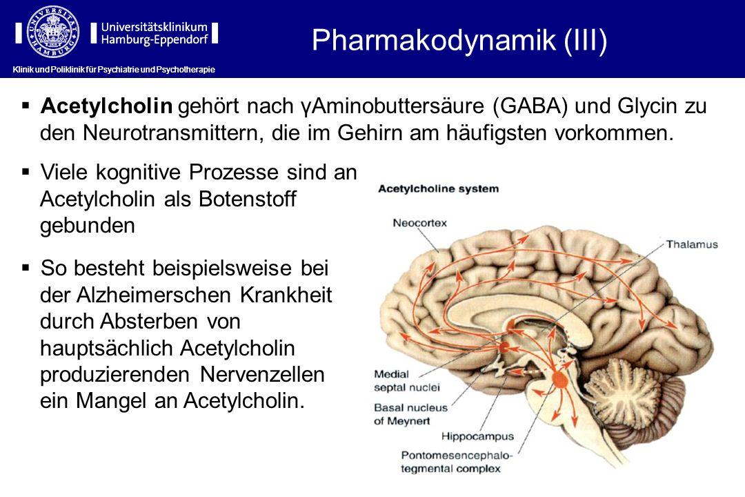 Klinik und Poliklinik für Psychiatrie und Psychotherapie Acetylcholin gehört nach γAminobuttersäure (GABA) und Glycin zu den Neurotransmittern, die im