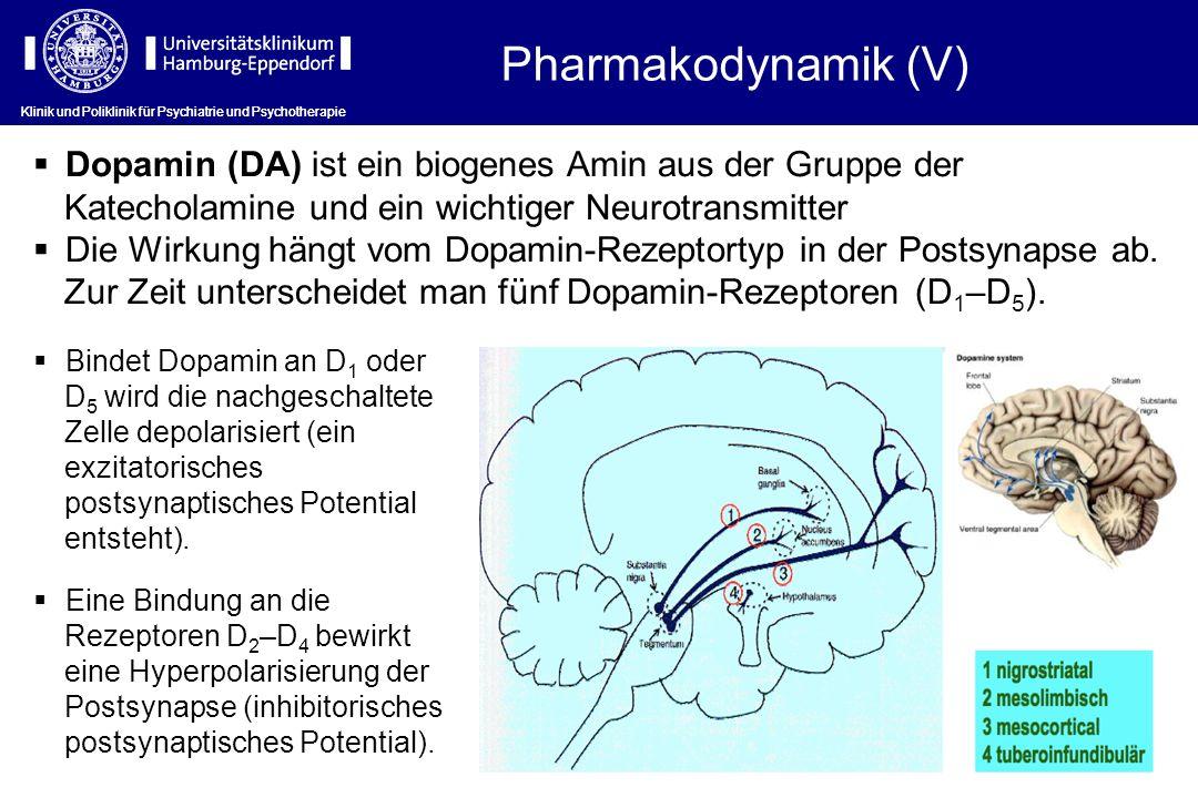 Klinik und Poliklinik für Psychiatrie und Psychotherapie Bindet Dopamin an D 1 oder D 5 wird die nachgeschaltete Zelle depolarisiert (ein exzitatorisc