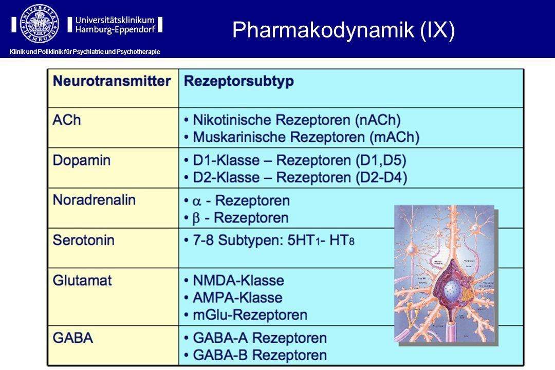 Klinik und Poliklinik für Psychiatrie und Psychotherapie Pharmakodynamik (IX)