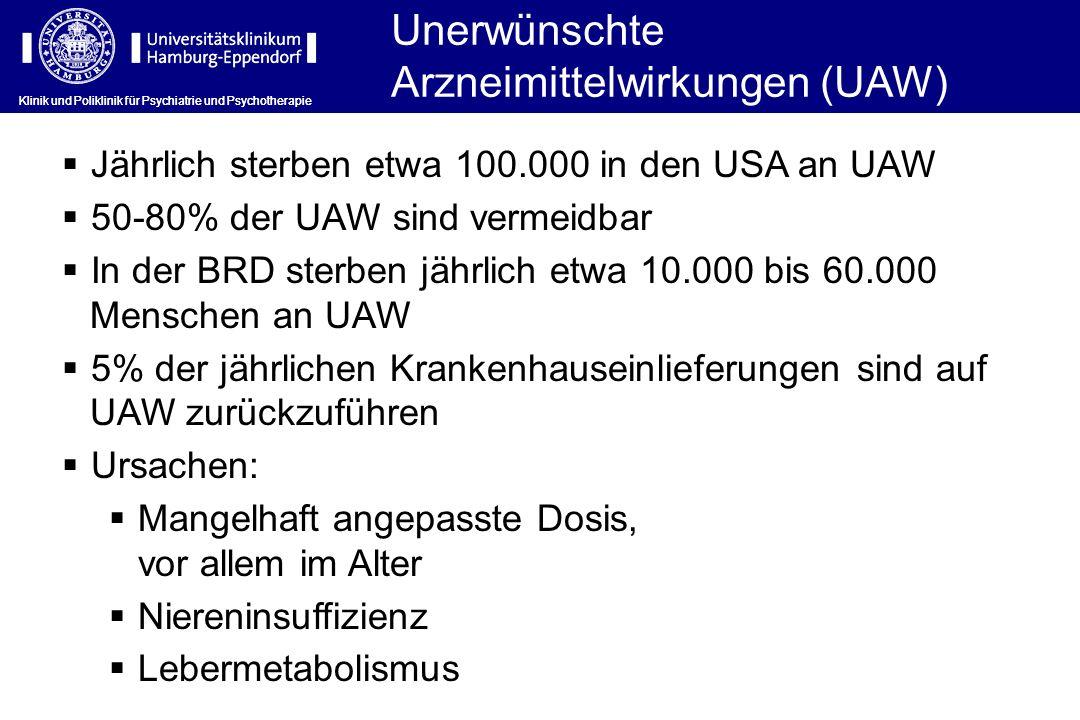 Unerwünschte Arzneimittelwirkungen (UAW) Jährlich sterben etwa 100.000 in den USA an UAW 50-80% der UAW sind vermeidbar In der BRD sterben jährlich et