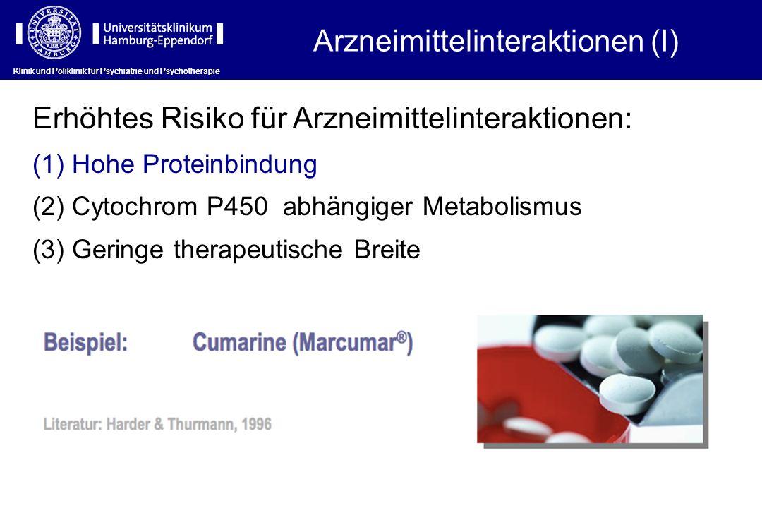 Arzneimittelinteraktionen (I) Erhöhtes Risiko für Arzneimittelinteraktionen: (1) Hohe Proteinbindung (2) Cytochrom P450 abhängiger Metabolismus (3) Ge