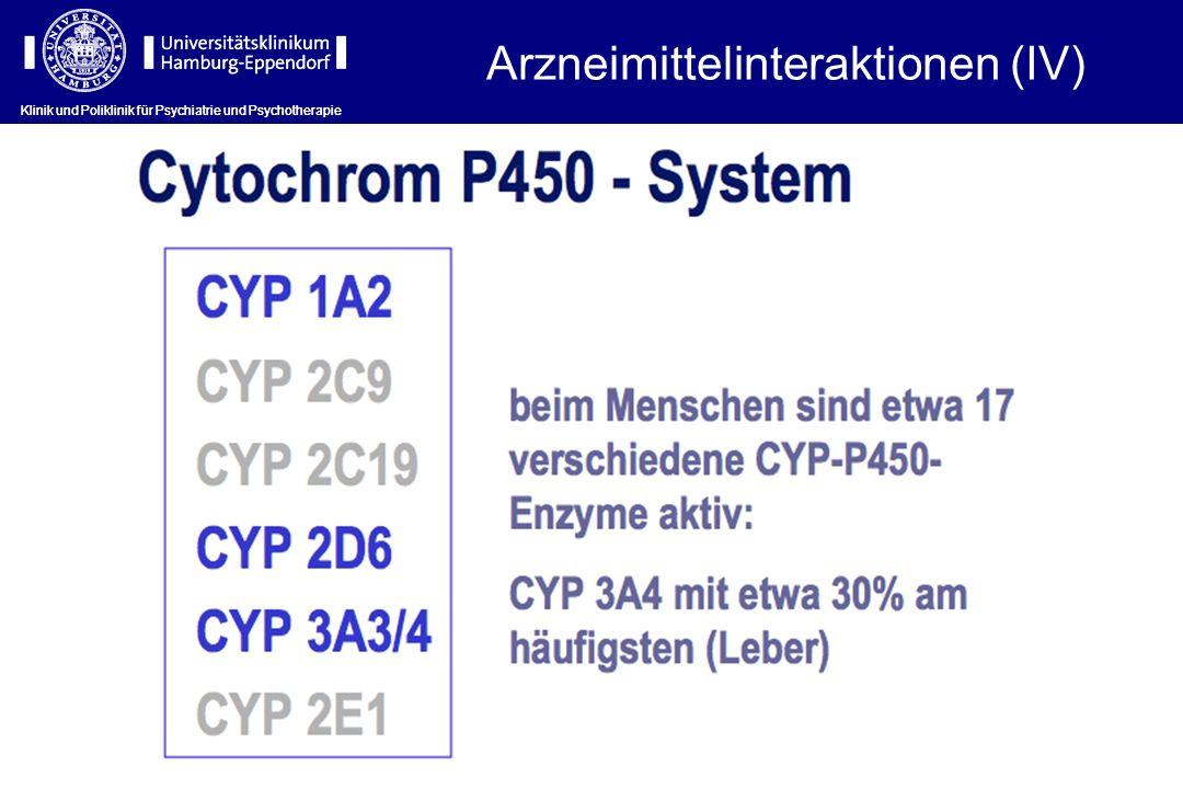 Klinik und Poliklinik für Psychiatrie und Psychotherapie Arzneimittelinteraktionen (IV)