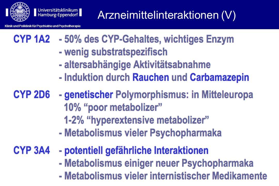 Klinik und Poliklinik für Psychiatrie und Psychotherapie Arzneimittelinteraktionen (V) Klinik und Poliklinik für Psychiatrie und Psychotherapie