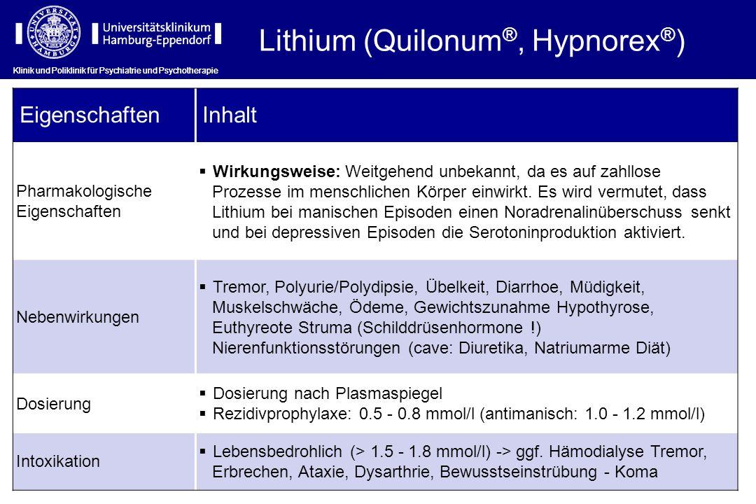 Klinik und Poliklinik für Psychiatrie und Psychotherapie Lithium (Quilonum ®, Hypnorex ® ) EigenschaftenInhalt Pharmakologische Eigenschaften Wirkungs