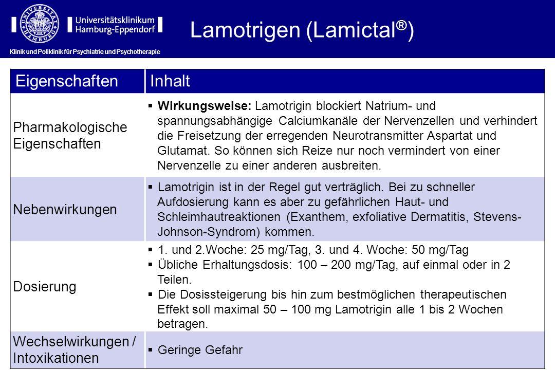 Lamotrigen (Lamictal ® ) EigenschaftenInhalt Pharmakologische Eigenschaften Wirkungsweise: Lamotrigin blockiert Natrium- und spannungsabhängige Calciu