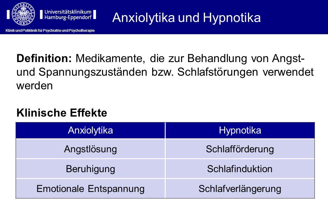 Anxiolytika und Hypnotika Definition: Medikamente, die zur Behandlung von Angst- und Spannungszuständen bzw. Schlafstörungen verwendet werden Klinisch