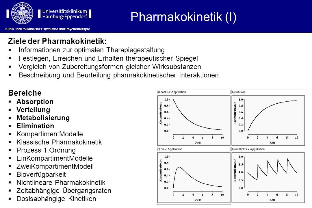 Klinik und Poliklinik für Psychiatrie und Psychotherapie Bereiche Absorption Verteilung Metabolisierung Elimination KompartimentModelle Klassische Pha