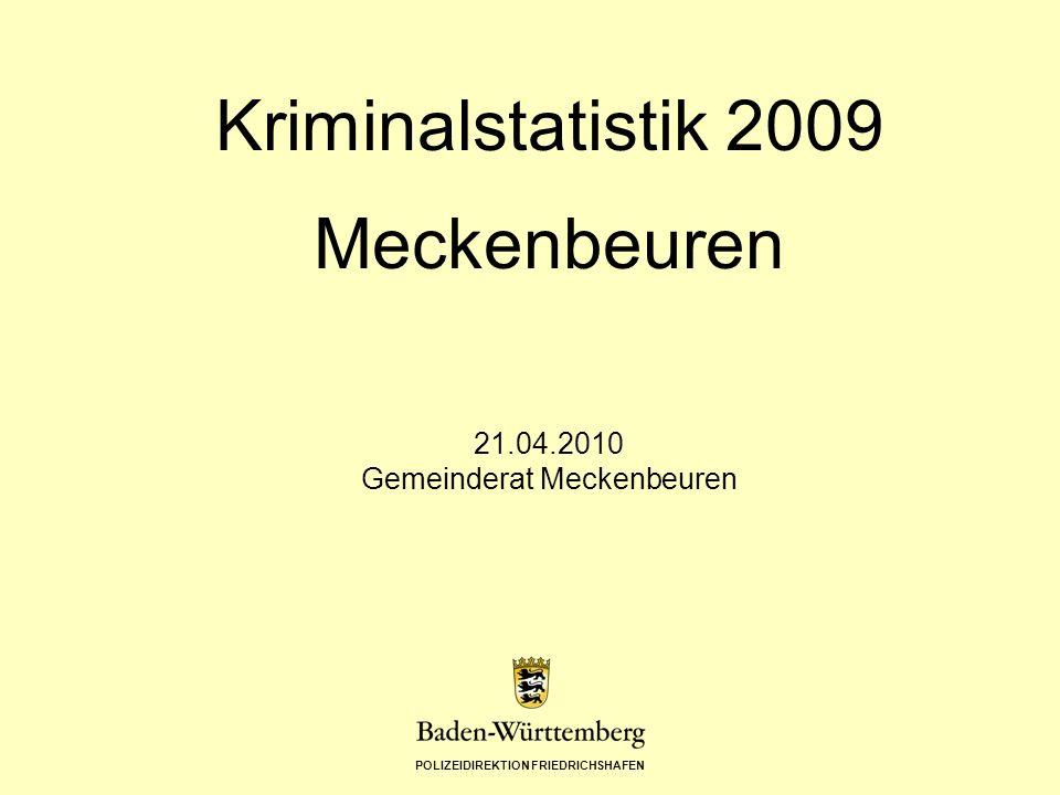 POLIZEIDIREKTION FRIEDRICHSHAFEN Kriminalstatistik 2009 Meckenbeuren 21.04.2010 Gemeinderat Meckenbeuren