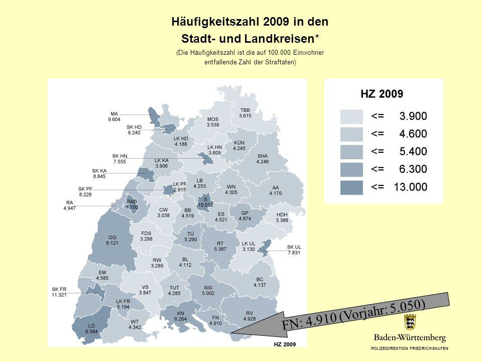 POLIZEIDIREKTION FRIEDRICHSHAFEN Häufigkeitszahl 2009 in den Stadt- und Landkreisen* (Die Häufigkeitszahl ist die auf 100.000 Einwohner entfallende Za