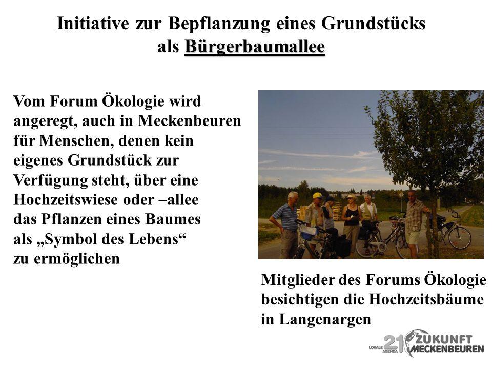 Initiative zur Bepflanzung eines Grundstücks Bürgerbaumallee als Bürgerbaumallee Vom Forum Ökologie wird angeregt, auch in Meckenbeuren für Menschen,
