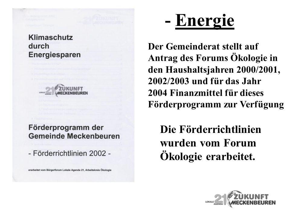 Der Gemeinderat stellt auf Antrag des Forums Ökologie in den Haushaltsjahren 2000/2001, 2002/2003 und für das Jahr 2004 Finanzmittel für dieses Förder