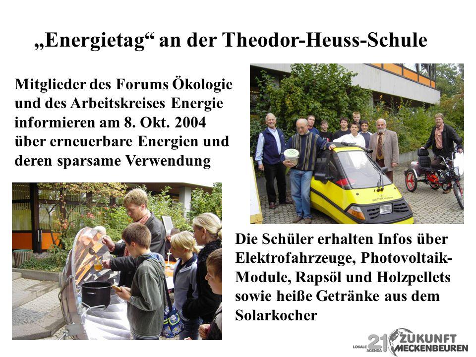 Energietag an der Theodor-Heuss-Schule Mitglieder des Forums Ökologie und des Arbeitskreises Energie informieren am 8. Okt. 2004 über erneuerbare Ener